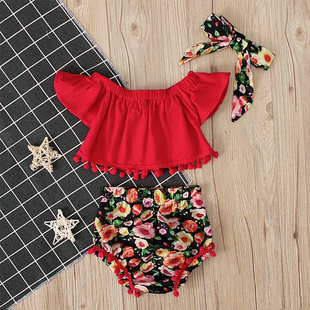 Kids Baby Jungen Outfits Set Einfarbig Falten T-Shirt Tops Cwemimifa Baby Kleidung Blume Shorts