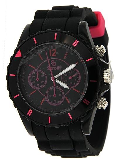 Reloj mujer crono, caja de plástico 44 mm, esfera negro con índice Fucsia, correa de silicona negro con Fibia Fucsia.: Amazon.es: Relojes