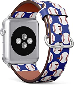 Compatible with Small Apple Watch 38mm & 40mm (All Series) Leather Watch Wrist Band Strap Bracelet with Stainless Steel Clasp and Adapters (Baseball)