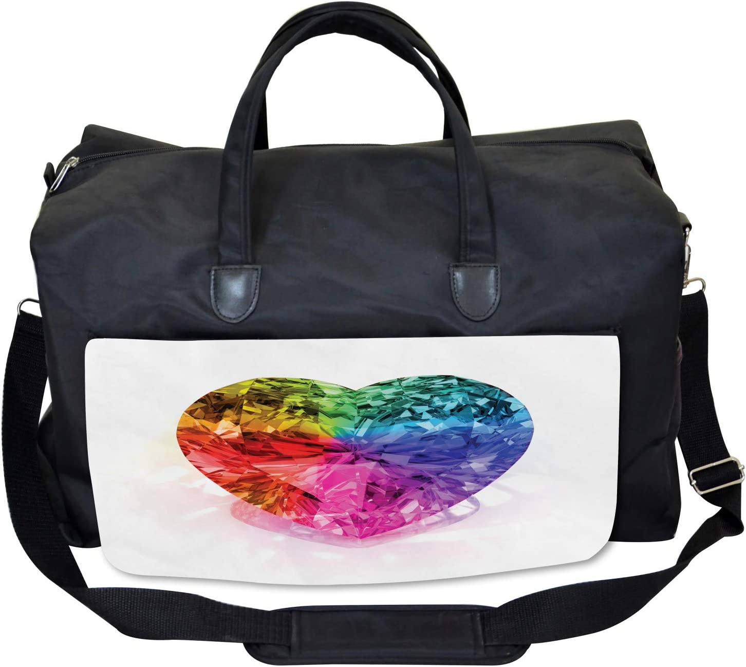 Love Heart Romance Large Weekender Carry-on Ambesonne Colorful Gym Bag