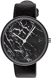 SIX Edle Schwarze Damen Armband Uhr, Zifferblatt in Marmor Design mit auffälligen weißen Zeigern, schwarzes Kunstlederarmband (274-384)