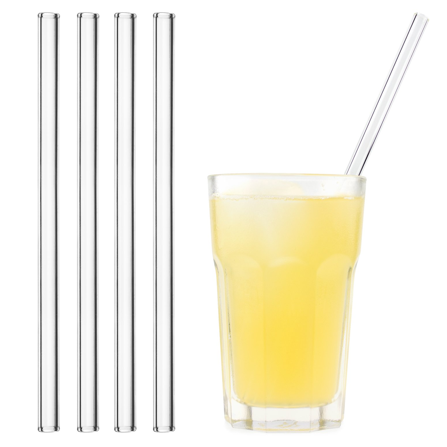 HALM  Glass Straws - 4 Reusable Drinking Straws + Plastic-Free Cleaning Brush - Made in Germany - Dishwasher Safe - Eco-Friendly - 23 cm (9 in) x 0.9 cm - Straight - Perfect for Smoothies, Cocktails