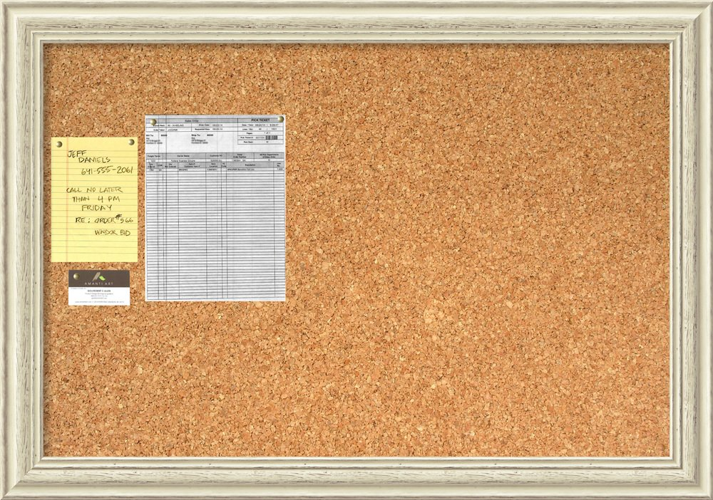 Framed Cork Board Large, Country White Wash Wood: Outer Size 40 x 28''