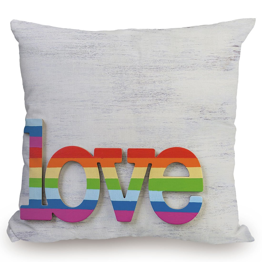 Throw Pillow Cushion Cover,Pride Decorations,Rainbow Colored Love Sign on Wood LGBT Homosexuality Community Culture,Multicolor,Decorative Square Accent Pillow Case