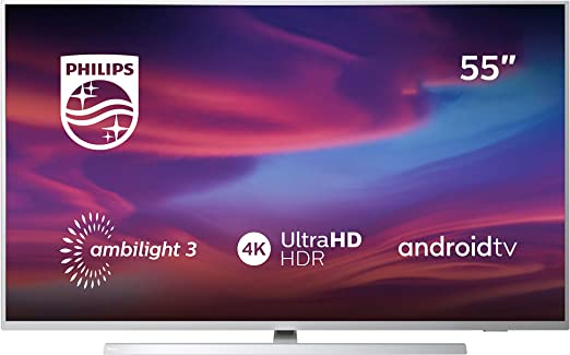 Televisor Philips Ambilight 55PUS7304/12 Smart TV de 139 cm (55 pulgadas) con 4K UHD, LED TV, HDR 10+, Dolby Atmos, Android TV, Google Assistant y compatibilidad con Alexa, color plata claro: Amazon.es: Electrónica