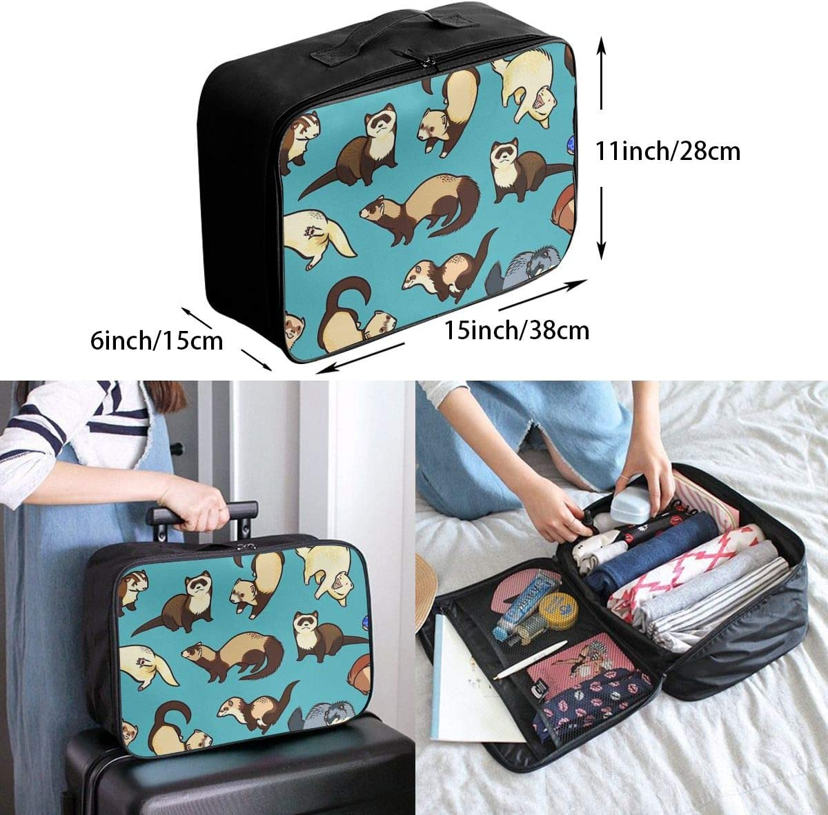 French Bulldog Fabric Travel Carry-on Luggage Weekender Bag Overnight Tote Flight Duffel In Trolley Handle
