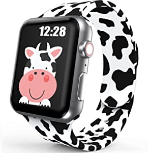 Sport Band Compatible with Apple Watch Bands 42mm 44mm Women Girls, Cute Cow Printed Watch Bands for iWatch Series 6 5 4 3 2 SE Silicone Apple Watch Band Luxury Design