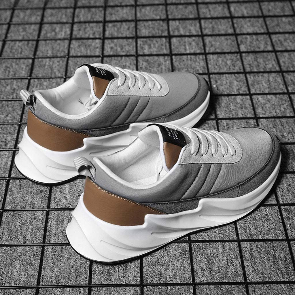 TANGSen Mens Summer Outdoor Casual Lace-Up Sports Shoes Non Slip Fashion Mesh Breathable Run Sneakers Grey
