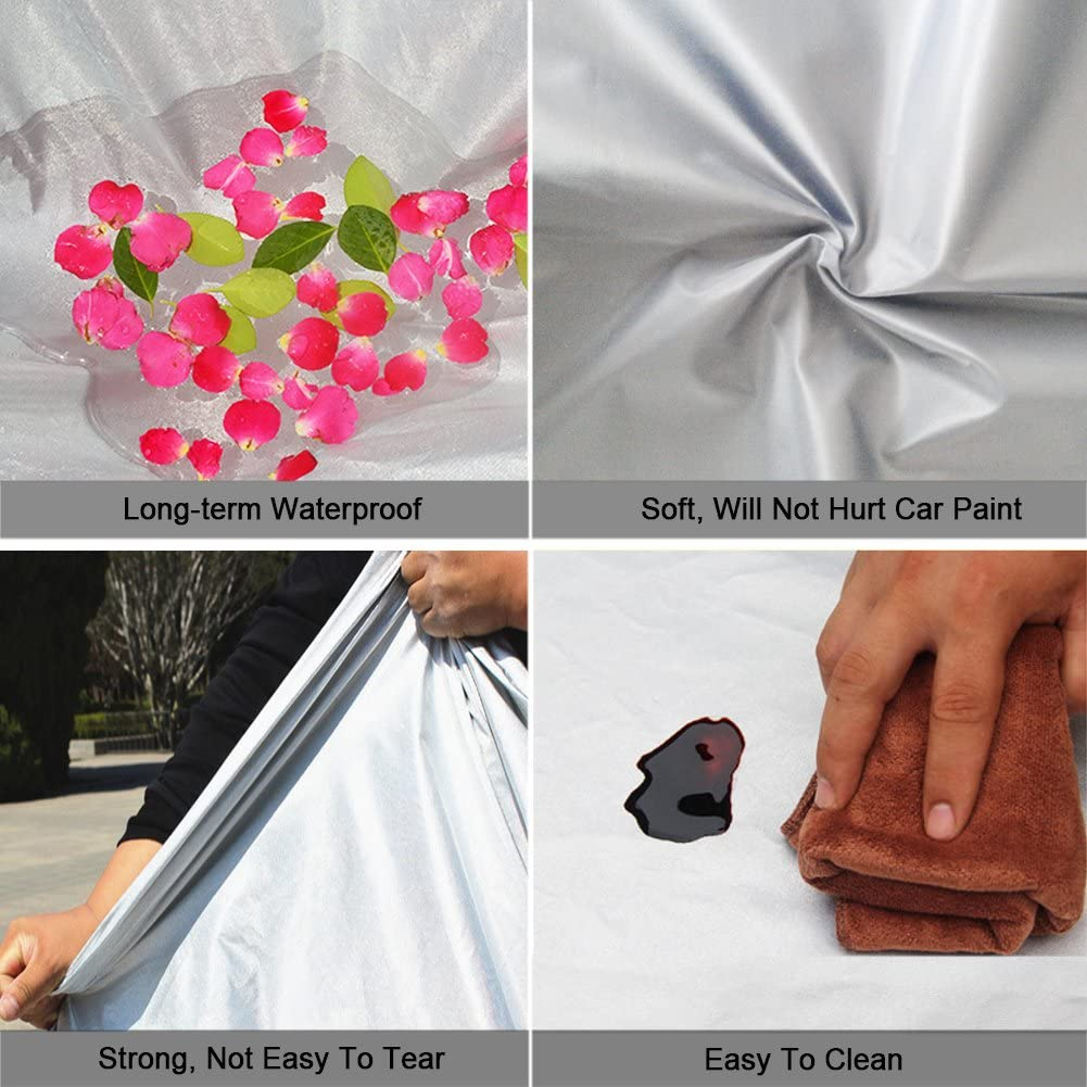 3XXL Kayme Car Covers for Automobiles Waterproof All Weather Sun Uv Rain Protection with Zipper Mirror Pocket Fit Sedan 194 to 208 Inch