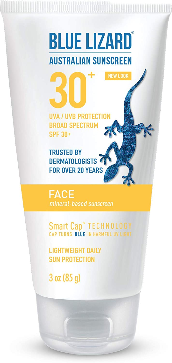 Blue Lizard Face Mineral-Based Sunscreen with Hydrating Hyaluronic Acid SPF 30+ UVA/UVB Protection, 3 oz