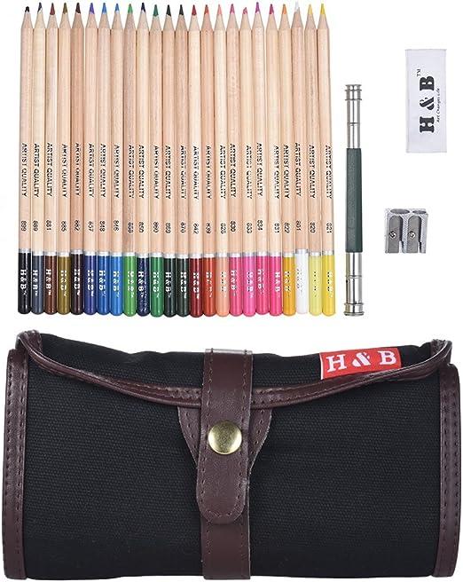 Aibecy Conjunto de Lápices de Pintura (24 Colores) con Bolso Enrollable Portátil con Estuche Enrollable y Extender de Lápiz: Amazon.es: Hogar