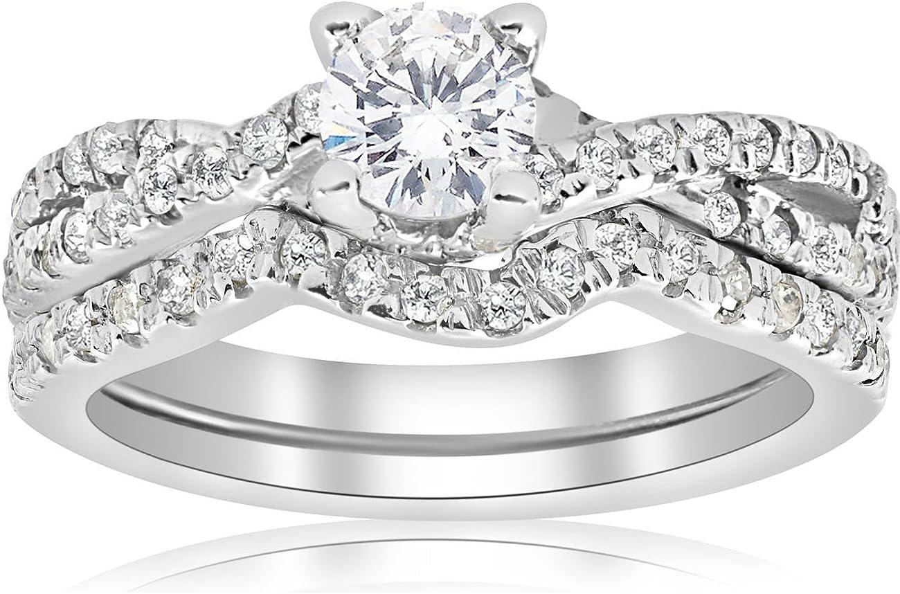 1ct Infinity Diamond Engagement Wedding Ring Set 14K White Gold