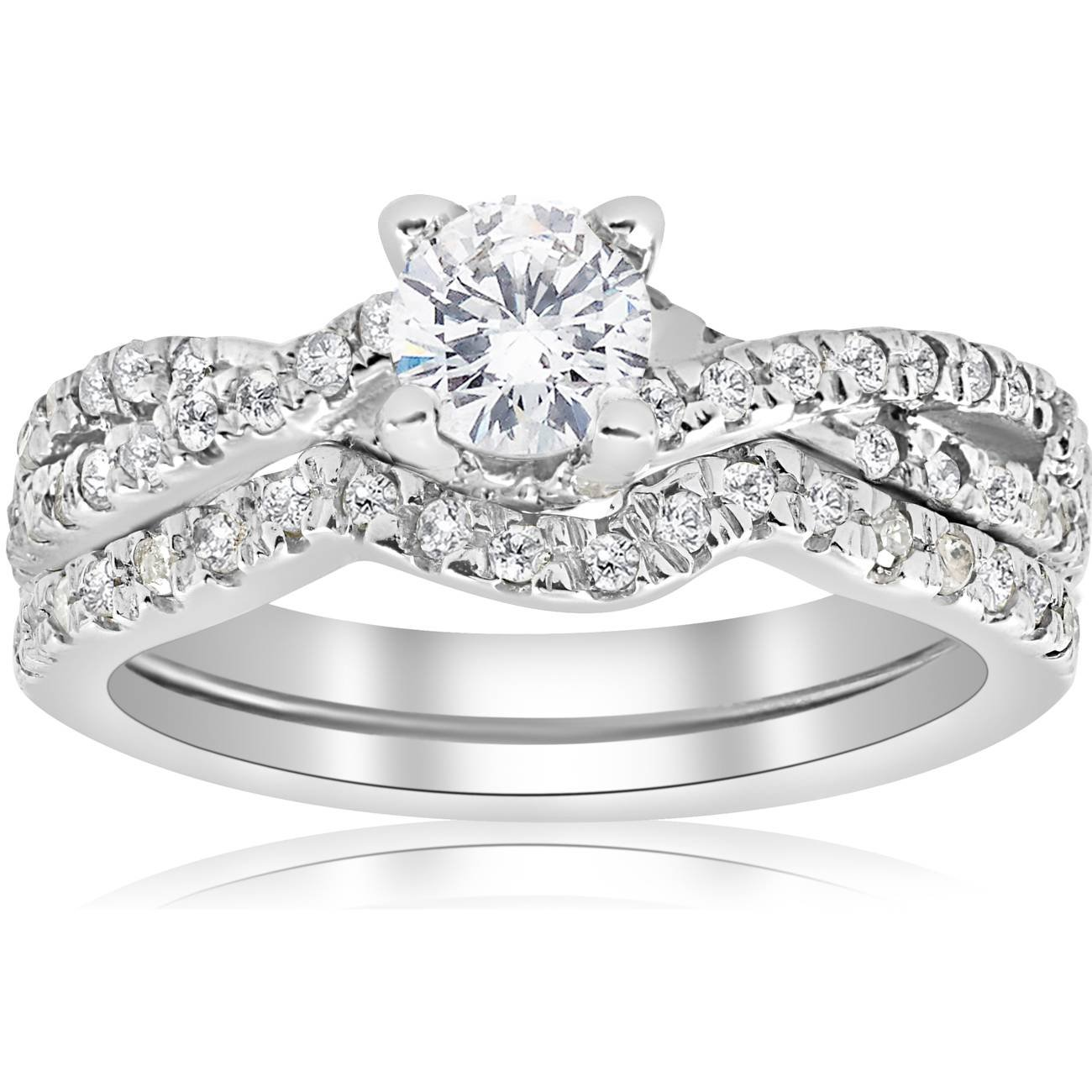 1ct Infinity Diamond Engagement Wedding Ring Set 14K White Gold - Size 8