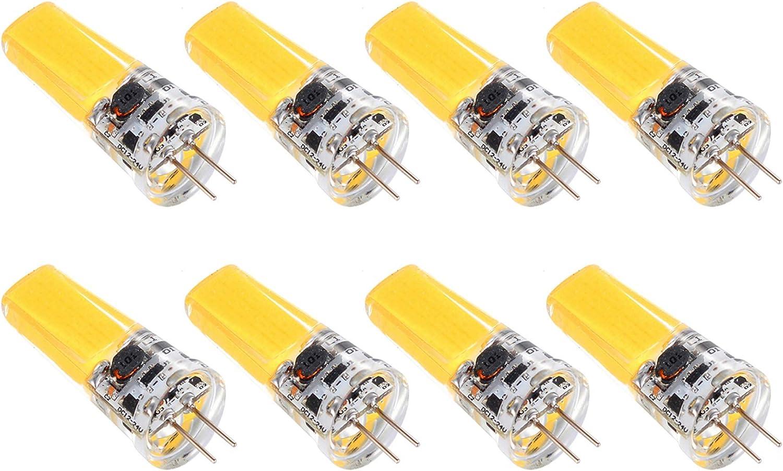SHKUU Bombilla LED G4 COB, AC12V 24V, 5W Regulable Luz iluminación Blanca cálida 360 °; Ángulo Haz, sin Parpadeo, Foco Cristal, Apto para la mayoría Las Ocasiones, Paquete 10