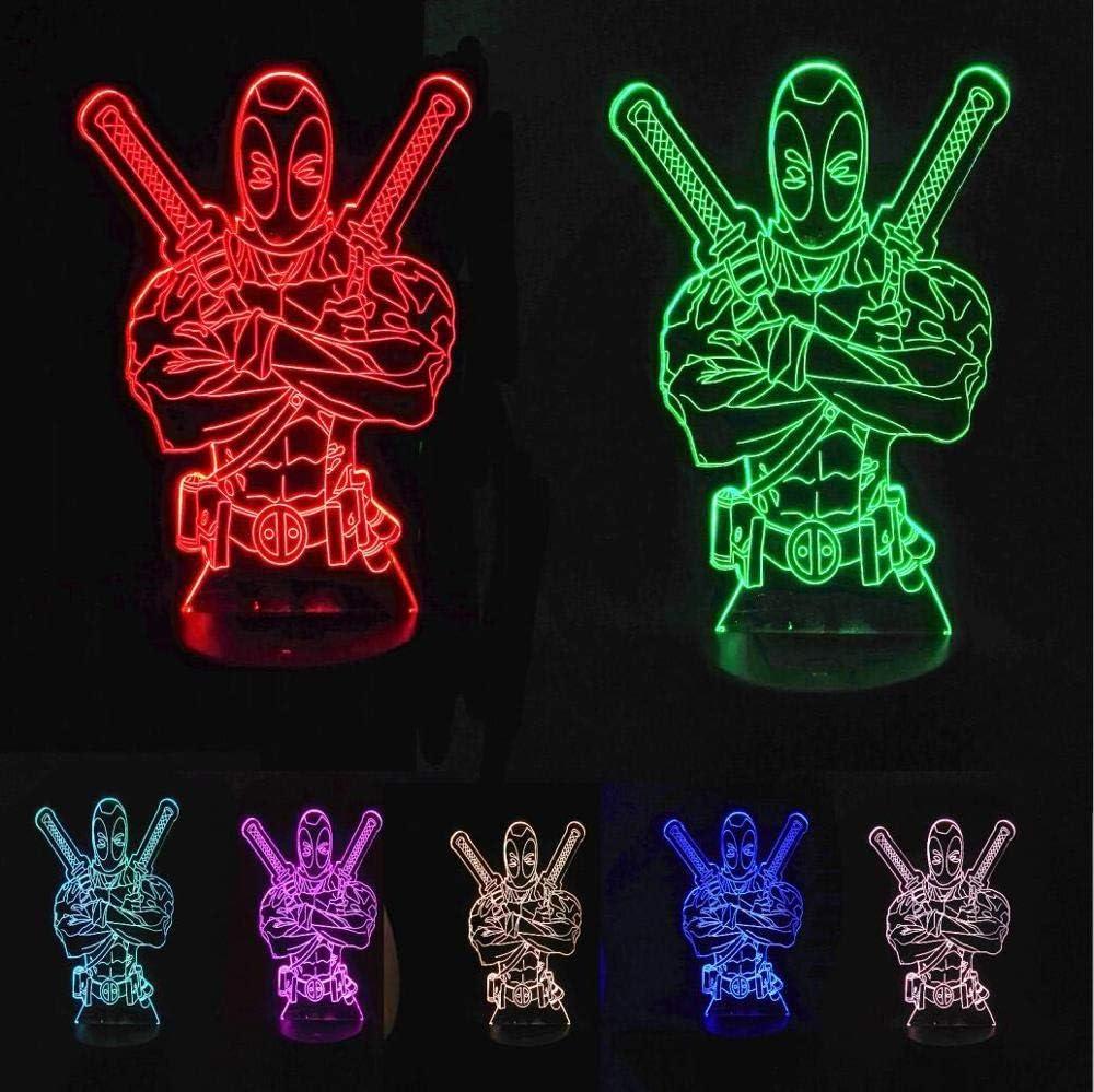 Avengers Deadpool 3D LED luz nocturna USB 7 decoración en color Illusion RGB hogar Lámpara para niños Vacaciones y cumpleaños amigos regalos Deadpool 4 Controlador 7 Color Touch One 7 Color usb recarg