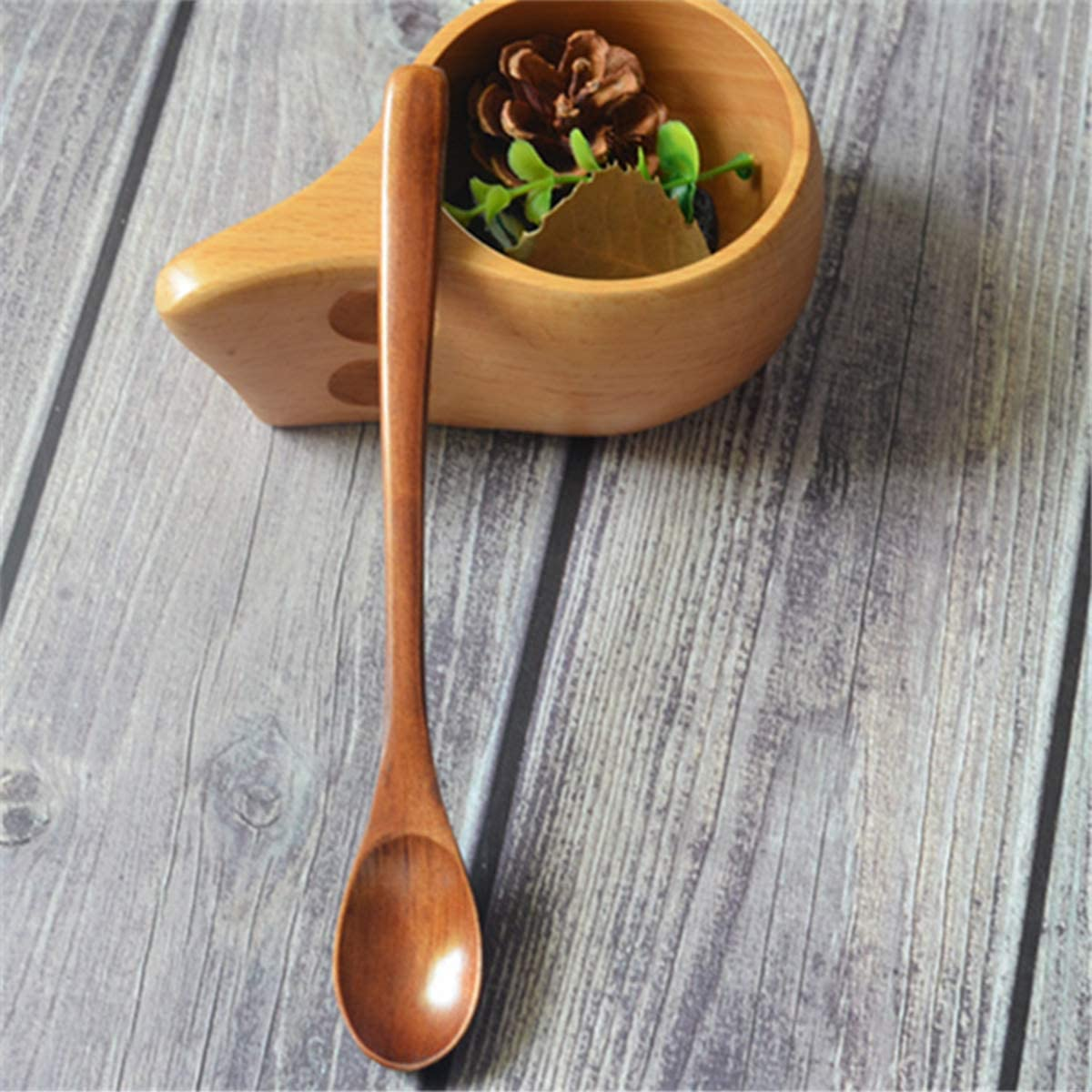 langer Griff Holzl/öffel 2 St/ück japanischer Stil zum Umr/ühren und Kochen