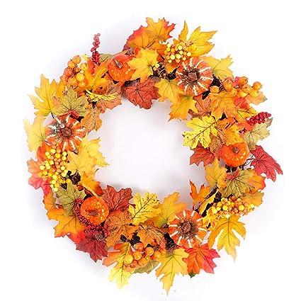 Christmas Leaves.Amazon Com Amosfun Door Wreath Thanksgiving Christmas Decor