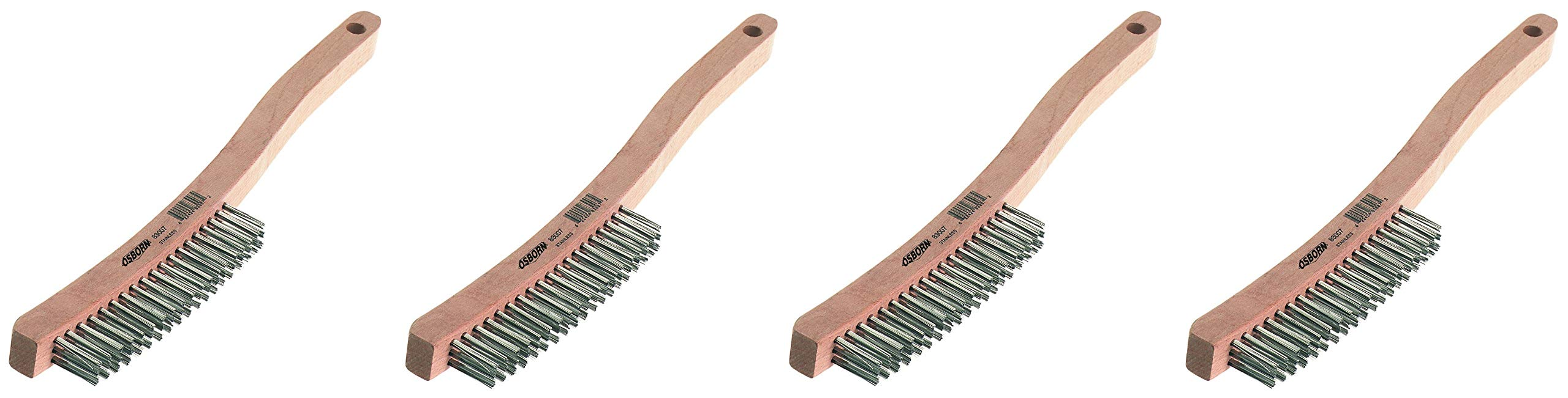 Osborn 83101 Economy Curved Handle Heavy DuScratch Brush, Stainless Steel Bristle, 6'' Length, 1-1/8'' Width Brush, 13-11/16'' Overall Length (Fоur Paсk)