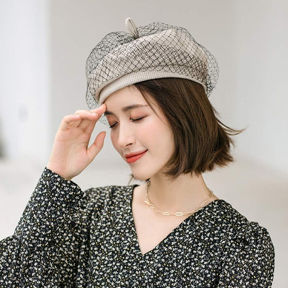 Hangton Womens Vintage Hats Tweed Cap 8 Panel Beret Cap Winter,Gray,OneSize