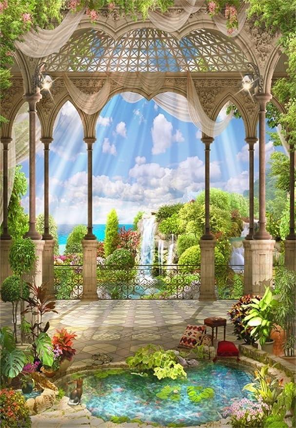 laeacco 3 x 5ft vinilo telón de fondo la fotografía fondo árabe arcos y flores cascada ventana Vista paisaje sala villa de lujo jardín rayos del sol Los amantes de la Escena