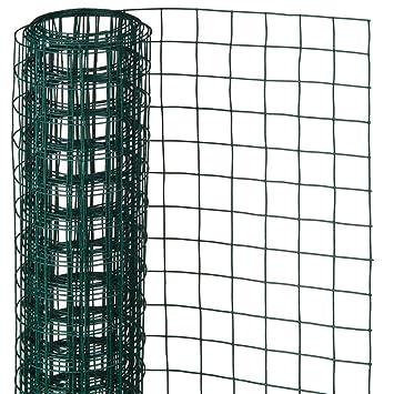 Malla de Alambre Cuadrada 1x5m Verde Acero/Plástico Cercado Jaula ...
