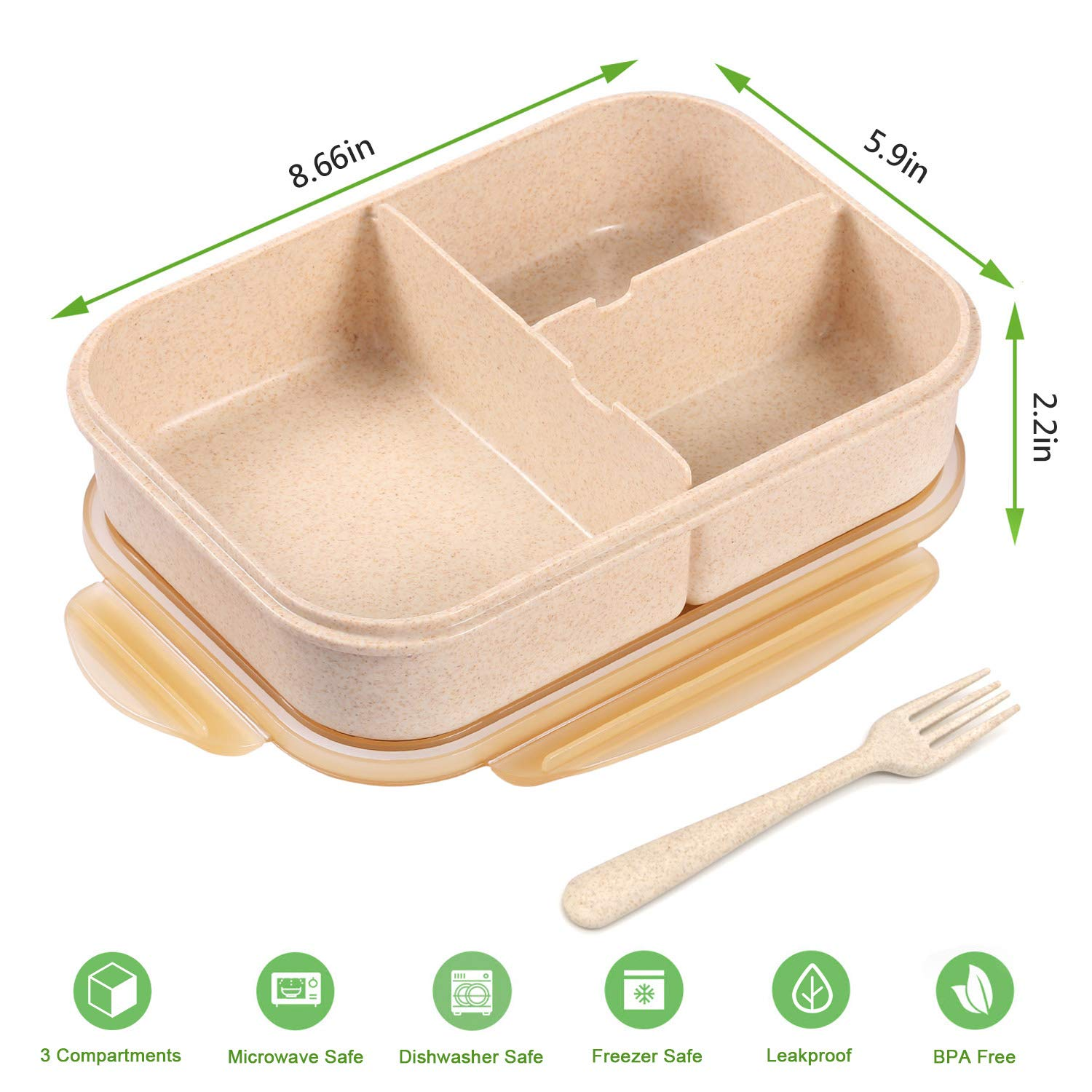 Bento Box for Kids Lunch Containers with 4 Compartments Kids Bento Lunch Box Microwave//Freezer//Dishwasher Safe Flatware Included,Light Blue