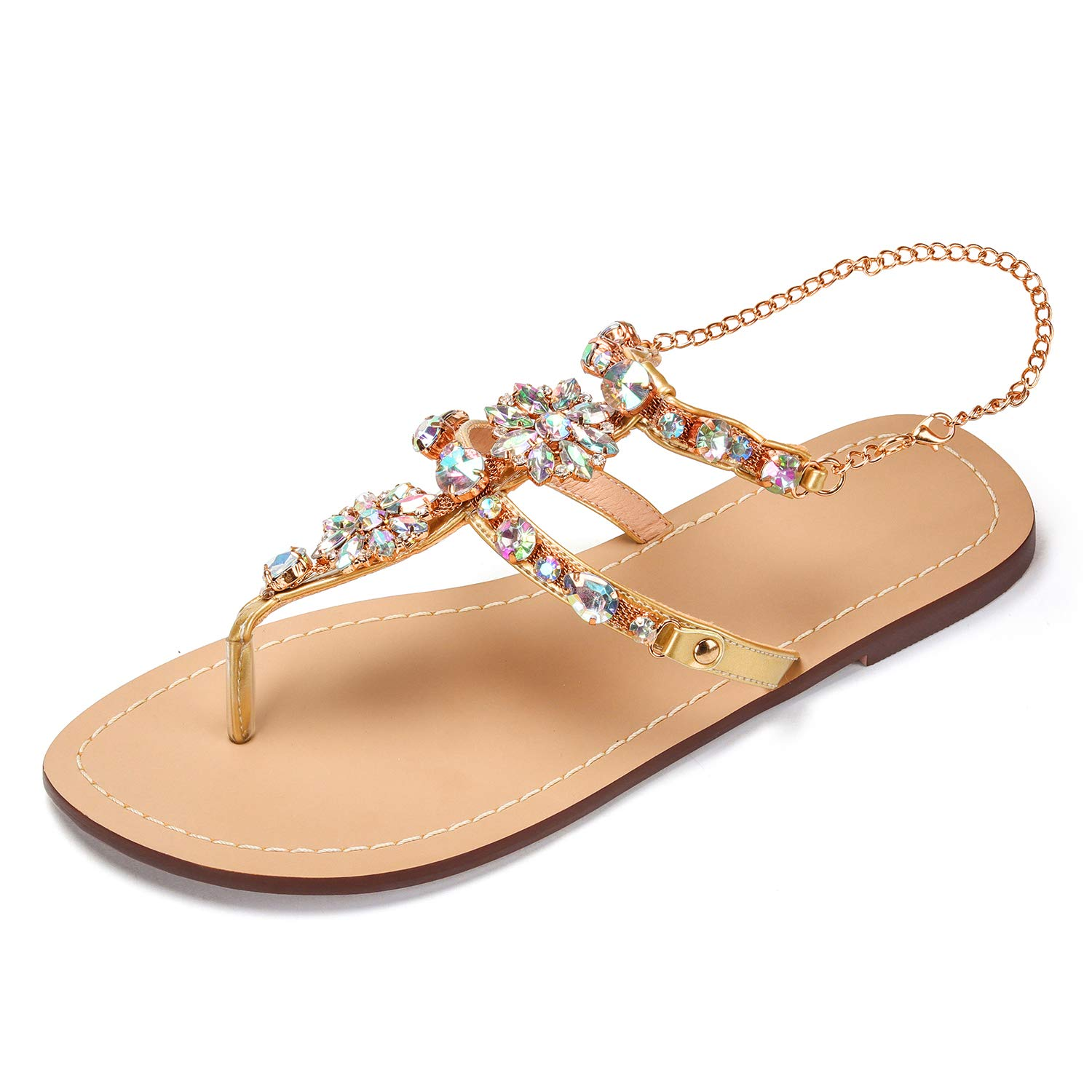 cc82996961f9 AZMODO 2017 Women Rhinestones Chains Flat Sandals Plus Size 1625  Amazon.co. uk  Shoes   Bags