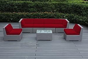 Ohana Collection pn07037gr pn7037grrd Ohana Outdoor Patio Furniture 7 Piece Gray Wicker Sectional Con, Red