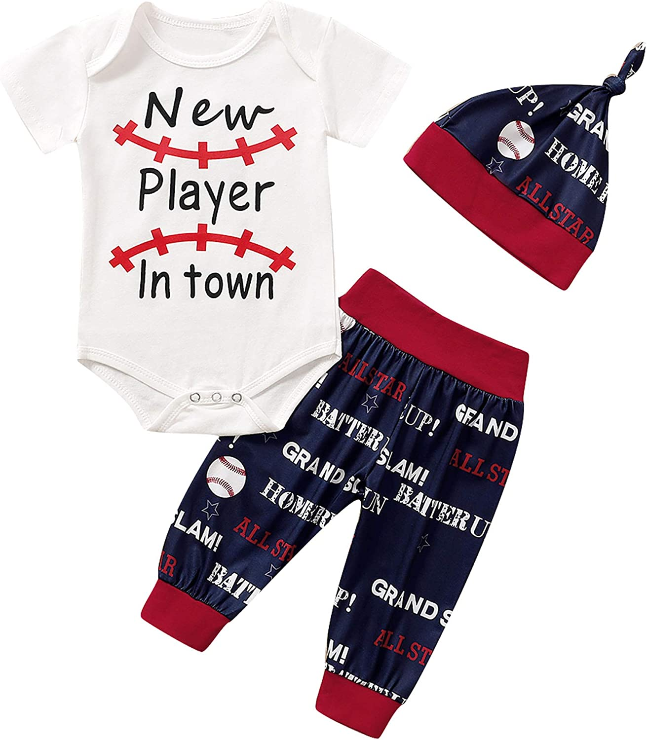 Baby Boys New Player in Town Outfits Newborn Funny Sport Romper