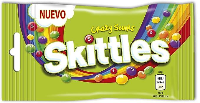 Skittles - Crazy Sours - Caramelos masticables con una crujiente capa de azúcar - 38 g - [Pack de 7]: Amazon.es: Alimentación y bebidas