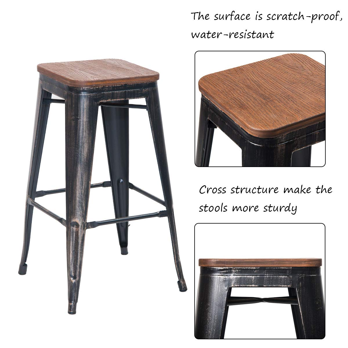 Amazon com merax 30 high backless metal indoor outdoor bar stool with wooden seat set of 2 distressed black home kitchen