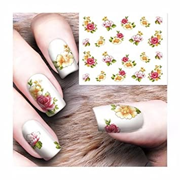 Amazon 1 Sheet Flower Nail Art Sticker Water Transfer Nails
