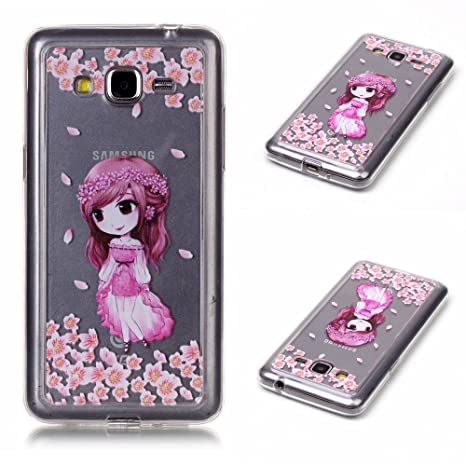 Funda para Samsung Galaxy Grand Prime SM-G530 (5 Pulgadas) Teléfonos Móviles - MaiJin Niña de Rosa TPU Silicona Case Cover Parachoques Carcasa