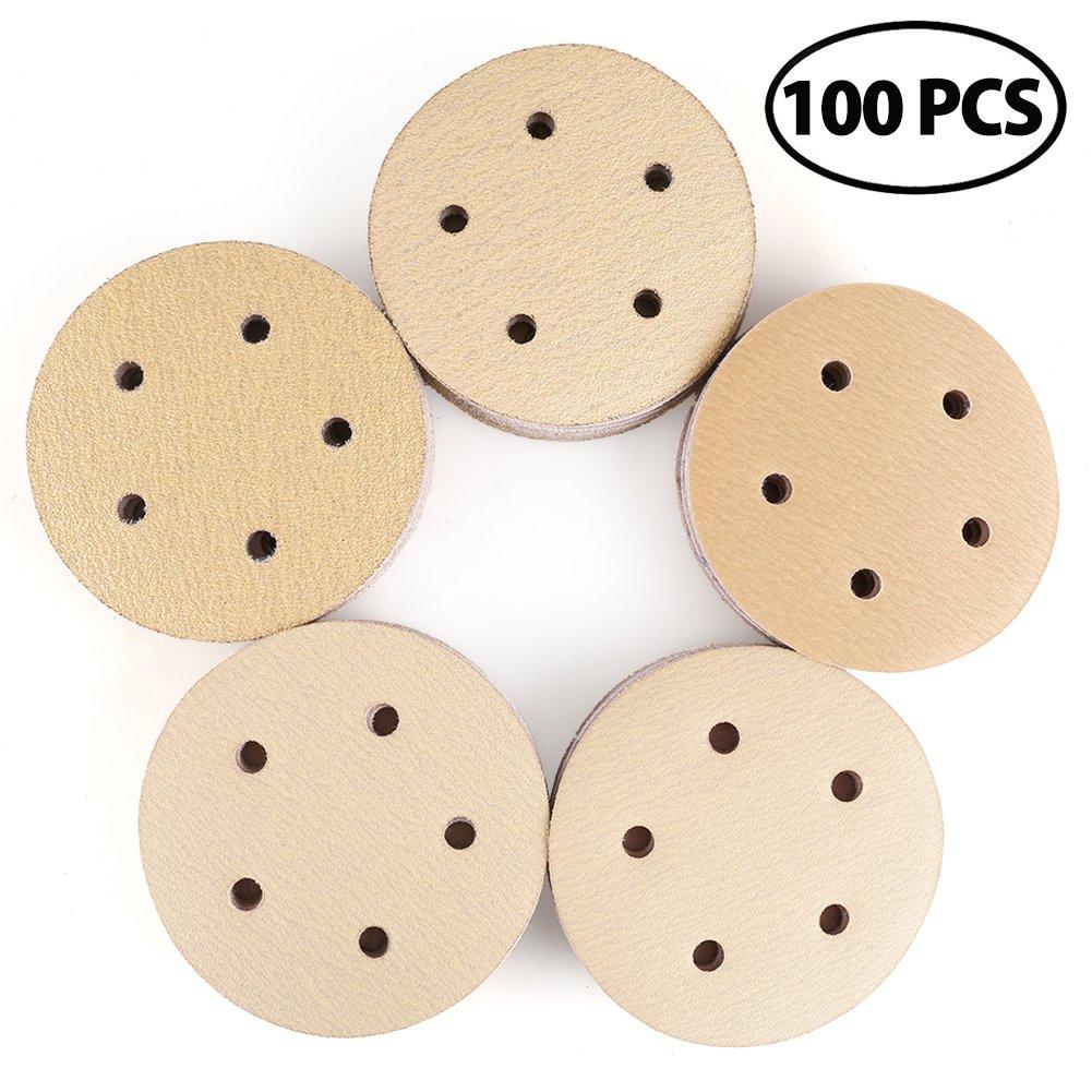 Sanding Disc, 60 80 120 150 220 Grit 5 Inch 5 Holes Sandpaper Assortment - LotFancy Hook and Loop Orbit Sander Paper, Pack of 100