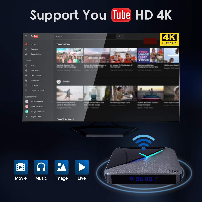 GPU G31 USB 3.0 Wi-Fi Media Player Smart TV Box by puersit Android 9.0 TV Box Quad Core Amlgic 905 X3 A55 8K Ultra HD h.265