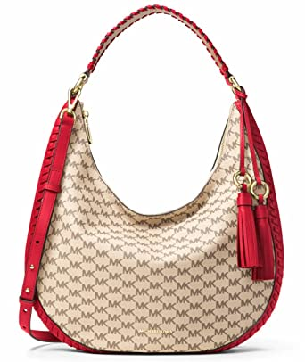 f8a3b8965d7d MICHAEL Michael Kors Signature Lauryn Large Logo Shoulder Bag in Natural/Bright  Red: Amazon.co.uk: Clothing