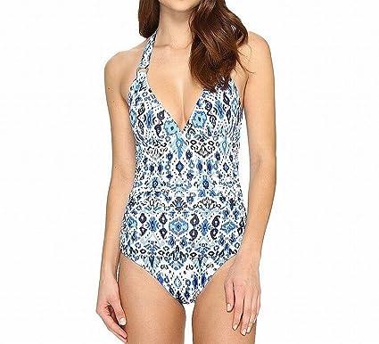 0c83bebd34d65e Tommy Bahama Women's Ikat Empire Seam Halter One-Piece Vivid Blue Swimsuit
