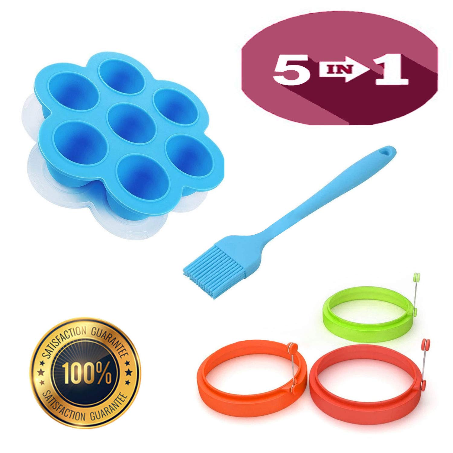 MILS 5 In Pack (1) Silicone Egg Bites Mold For Instant Pot Accessories, Fits 5,6,8 qt Pressure Cooker,Freezer Ice Cube Trays, Egg Poacher Ring, (3) Silicone Egg Rings Non Stick With (1) Silicone Brush