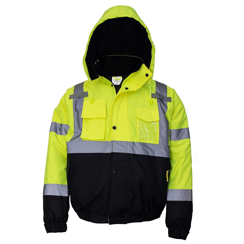 New York Hi-Viz Workwear WJ9012-L Men's ANSI Class 3 High Visibility Bomber Safety Jacket, Waterproof (Large, Lime) by New York Hi-Viz Workwear (Image #3)