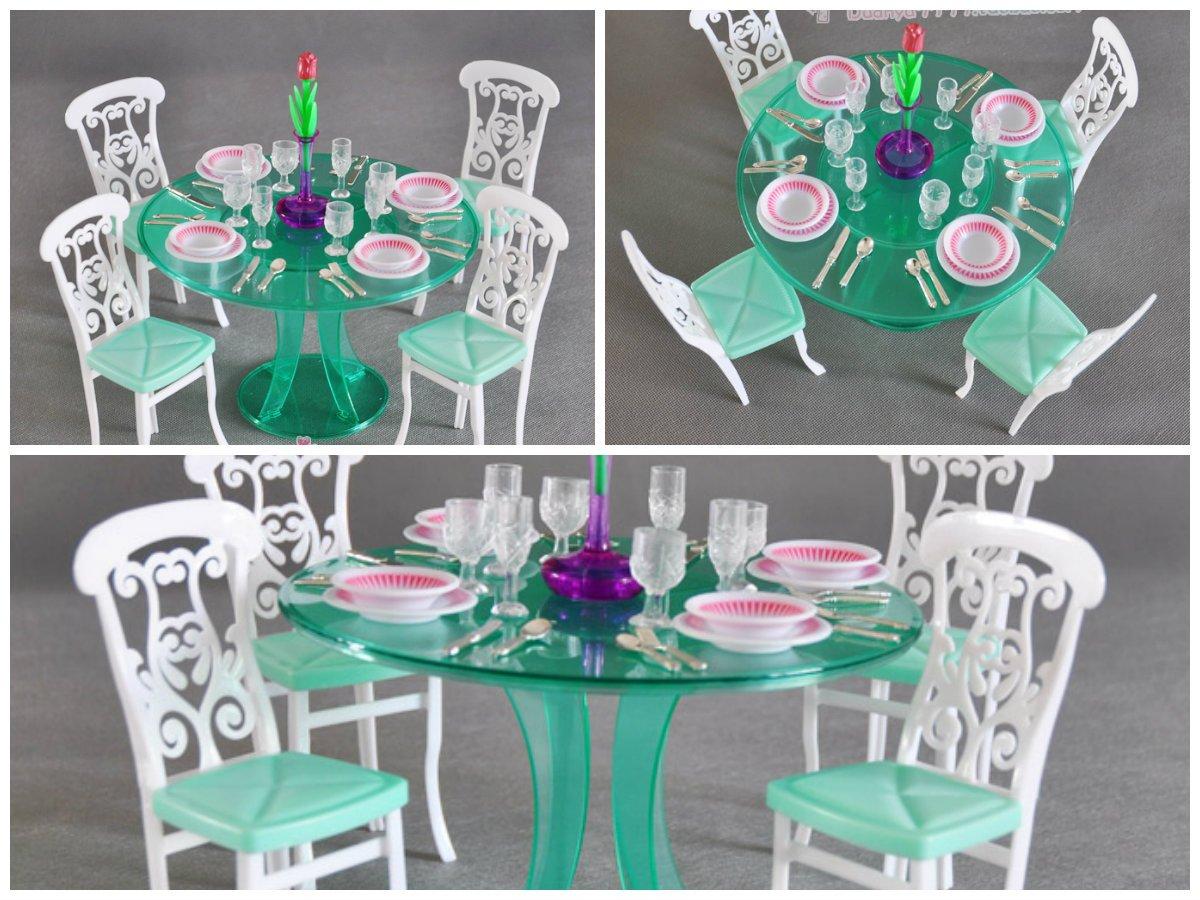 gloria Barbie Size Dollhouse Furniture Dining Room, Green