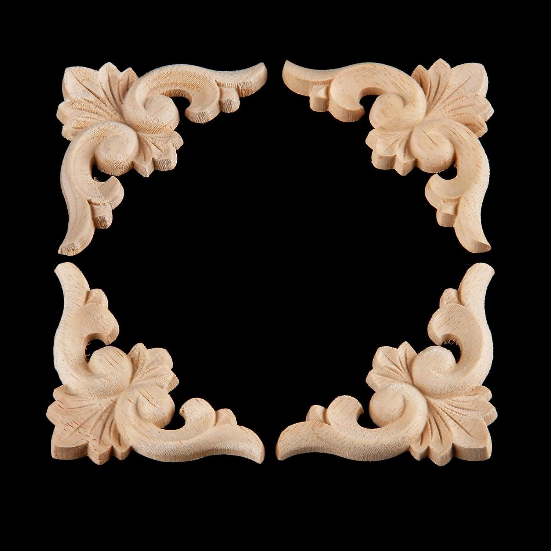 per porte e mobili 6*6cm stile europeo 4pcs Decorazione in legno intagliato non verniciato