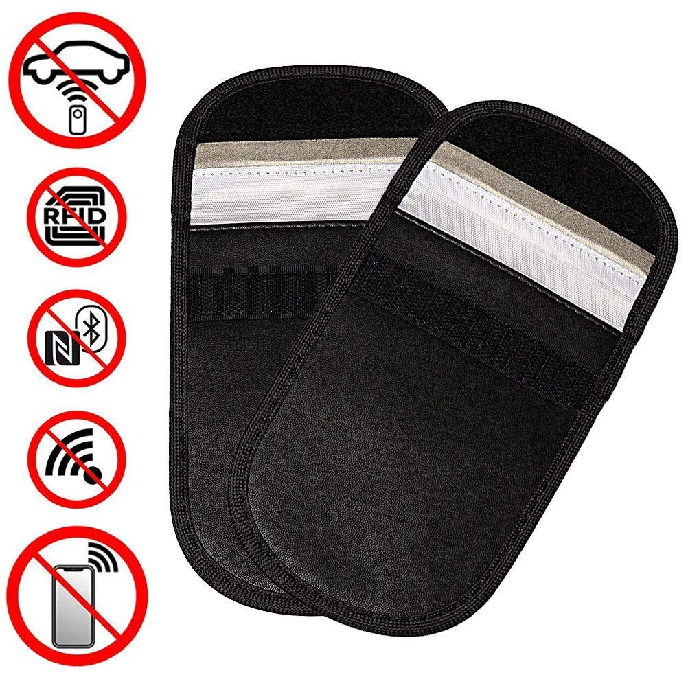 wotu 2 Pcs Car Key Signal Blocker Case, Keyless Remotes Control Entry Fob Guard Signal Blocking Pouch Bag Antitheft Lock Devices Healthy Credit Card Cell