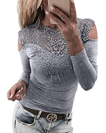 d8b96f4036 YOINS Women Cold Shoulder Lace Tops Sexy Cut Out Shirts Long Sleeve Round Neck  Blouses  Amazon.co.uk  Clothing