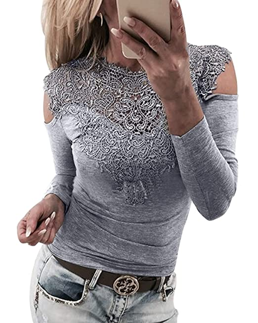 f17fe84e36399 YOINS Women Cold Shoulder Lace Tops Sexy Cut Out Shirts Long Sleeve Round Neck  Blouses  Amazon.co.uk  Clothing