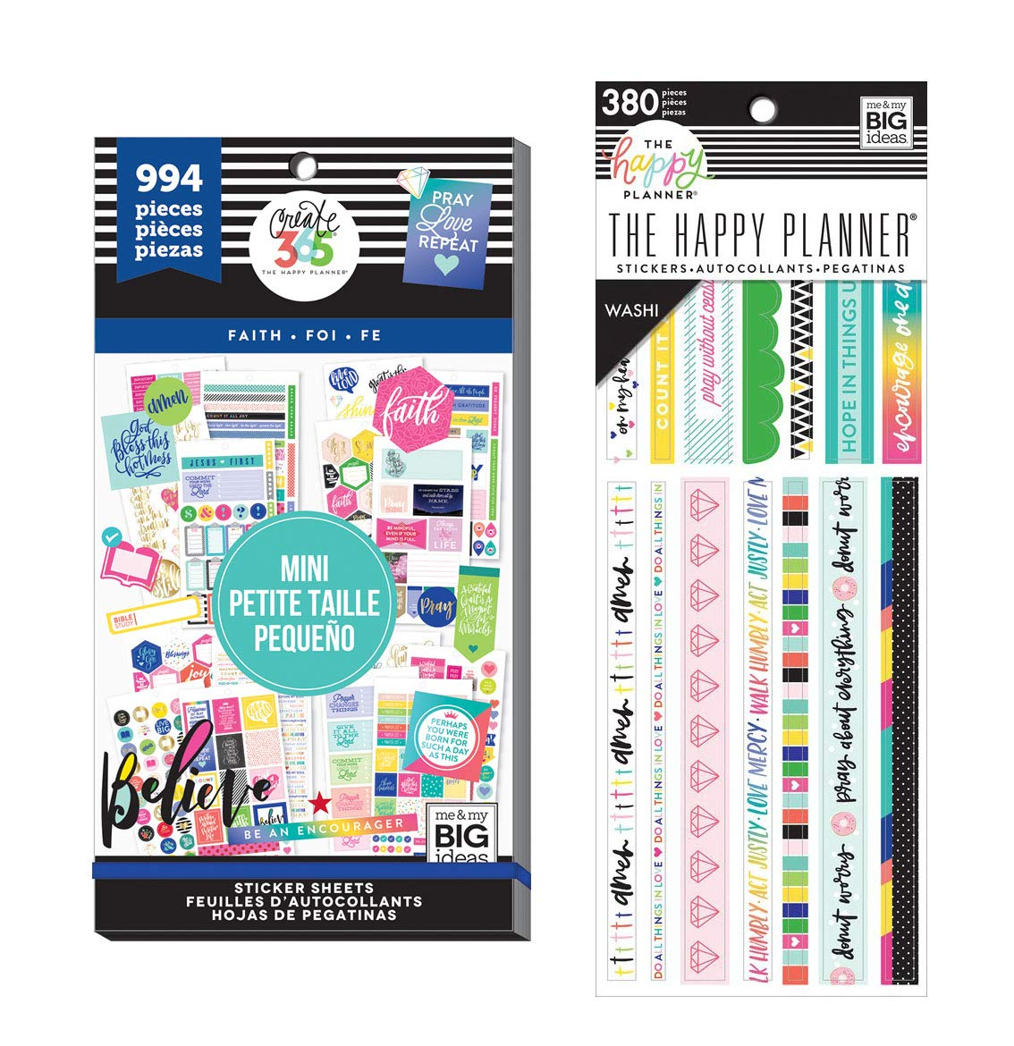 Create 365 The Happy Planner Faith Bundle: Mini Faith Value Pack Sticker Book + Bible Journaling Washi Tape Book by MAMBI