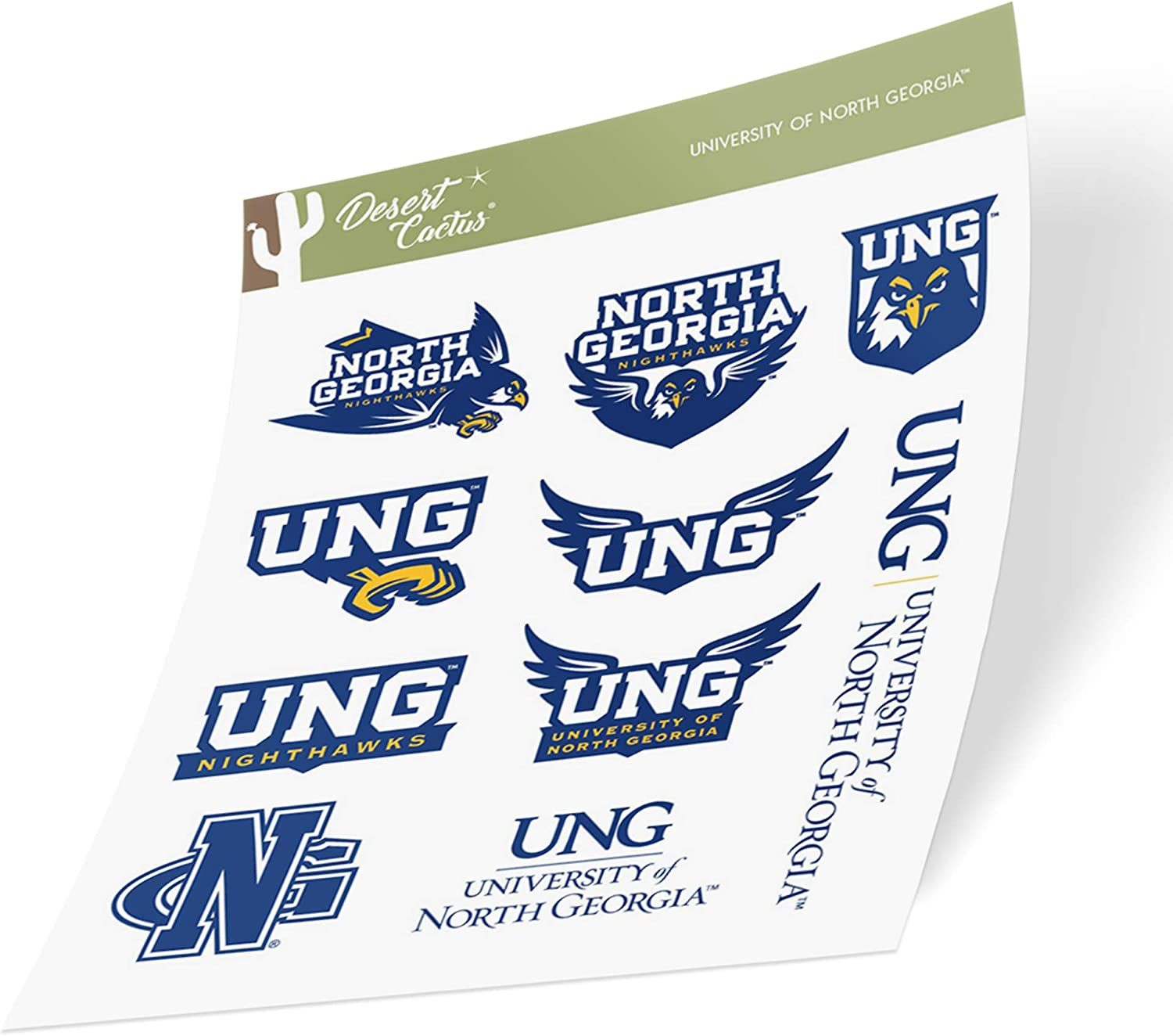 University of North Georgia UNG Nighthawks NCAA Sticker Vinyl Decal Laptop Water Bottle Car Scrapbook (Type 2 Sheet)