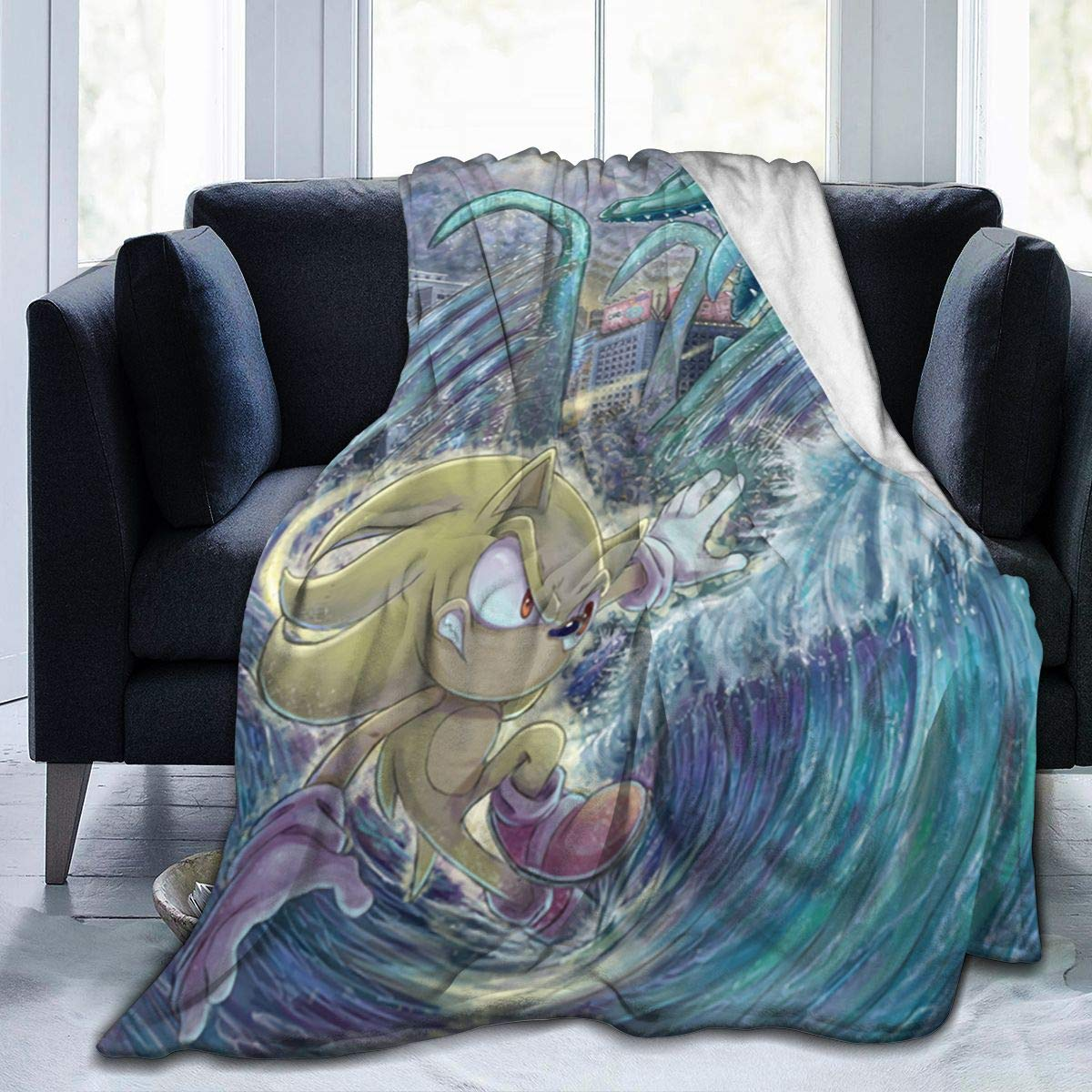 Milarz Sonic Hedgehog Game Blanket Cartoon Kids Plush Throw Weighted Blanket,Soft Warm Fuzzy Bedroom Blanket Plush Sheet,Coral Velvet Blanket for Bed Couch Chair Living Room