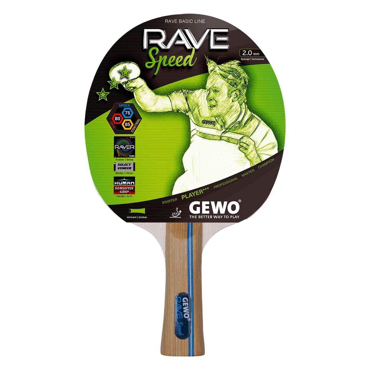 GEWO Rave Speed Cóncavo Raqueta de Tenis de Mesa, marrón, One Size ...