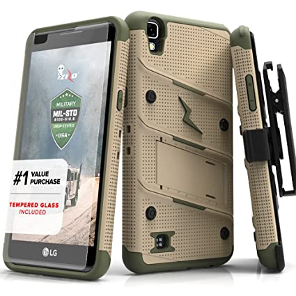 sale retailer 25081 caae7 Zizo Bolt Series compatilbe with LG Tribute HD Case Military Grade Drop  Tested with Tempered Glass Screen Protector Holster LG X Style TAN CAMO  Green