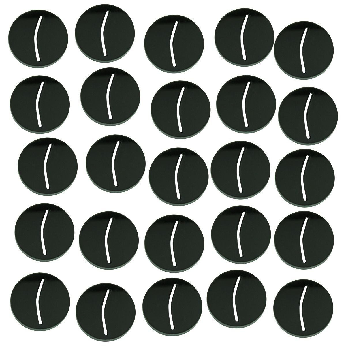 Paper Miniature Bases, 25mm Circle, 3mm Black (25)